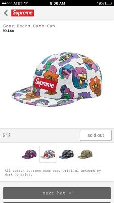 49ffc311882 Supreme X Gonz Heads Camp Cap New With Tags White   Red Bogo Sold Out F