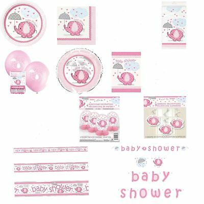 Pink Umbrellaphants Gender Baby Shower Party Supplies Tableware Decorations Girl