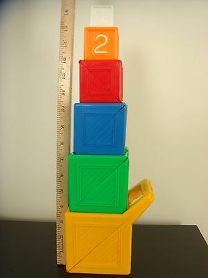 Vintage Fisher Price Nesting Stacking Blocks Learning colors counting game,
