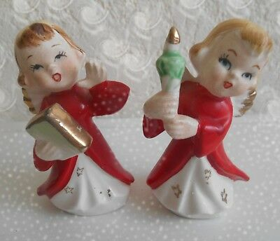 Vintage set of Christmas Angels Made in Japan Ceramic Figurines