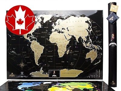 """Black Scratch World Map, """"MyMap Edition"""" Large USA Canada States, Personal 2017"""