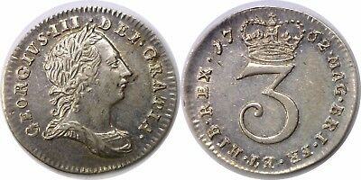 1762 Great Britain George III Silver 3 Pence KM# 591 Extra Fine