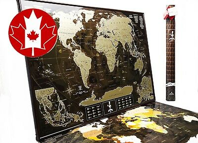 """Deluxe Coffee World Scratch off travel map """"Chocolate Edition"""" (35 x 25) Updated"""