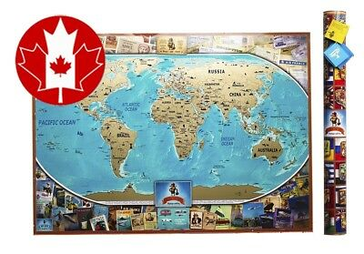 MyMap Colorful Large World Scratch Off Map 35'' x 25'' Push Pin Travel Updated