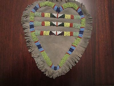 """Antique Apache Beaded Pouch  heart shaped large piece 6 x 7"""""""