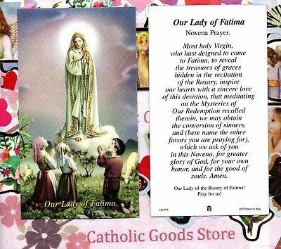 Our Lady of Fatima with the Novena Prayer  - Paperstock Holy Card