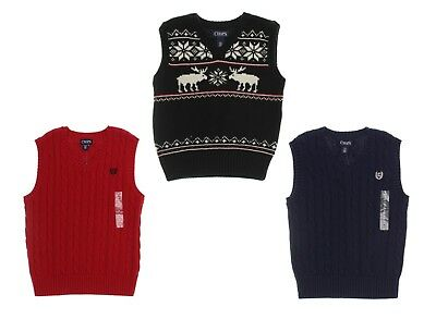 Chaps Boys' Cable Knit Sweater Holiday Vest - Select size/color - New with Tags
