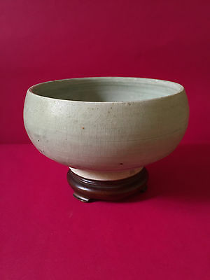 RARE Old and Antique Yuan Pale Blue Glazed Pottery Alms Bowl