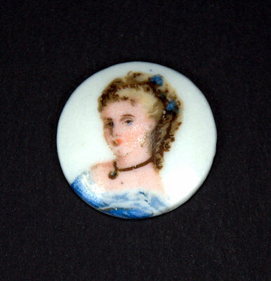 """Tiny 3/4"""" Portrait of a Lady, Hand-Painted on Porcelain, Signed Limoges, France"""