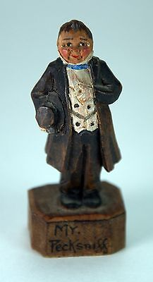 VTG ANRI Italy Carved Painted Wood Mr. Pecksniff Charles Dickens Pickwick Papers