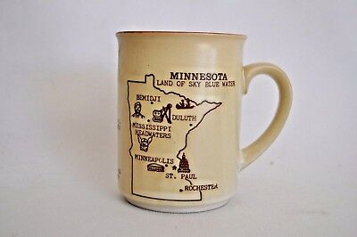 Vintage Minnesota Coffee Mug Ceramic Retro Motto  Statehood Land of Lakes Blue
