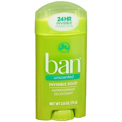 Ban Invisible Solid, Antiperspirant & Deodorant, Unscented 2.6 oz (73 g)