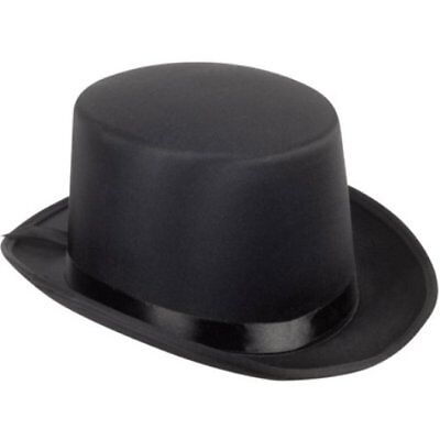 Black Satin Top Hat Magician Gentleman Adult 20's Costume Tuxedo Victorian