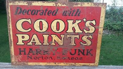 """VTG 28 X 20 Metal Sign """"DECORATED WITH COOKS PAINTS HARRY FUNK NORTON KANSAS"""