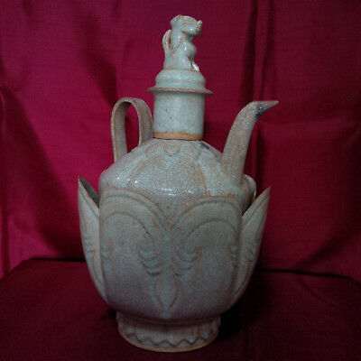 Old and Antique Chinese Song Qingbai Ewer and Cover with Lotus Warmer