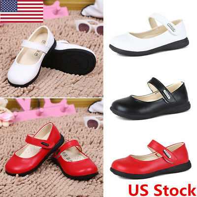 US Fashion Red Toddler Baby Girl Shoes Kids Flats Dress Genuine Leather Shoes