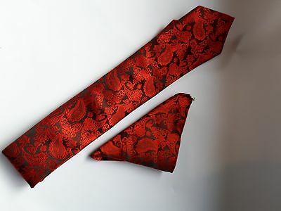 Men Groomsman Red & Black Classic Polyester Tie Set