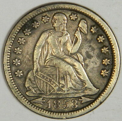 1853 Seated Liberty Dime - Original Xf - Priced Right!   (Inv#7)