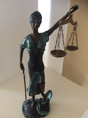 Bronze Blind Lady Of Justice Scales Law Lawyer Hot Cast