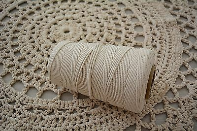 "Macrame Cotton Rope Cord, 3/4 mm 100% ""Natural"" - 300M - 1kg"