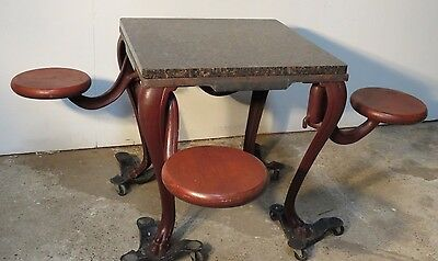 Rare 1920's Ice Cream Parlor Table with swing out stools / seats & Granite Top