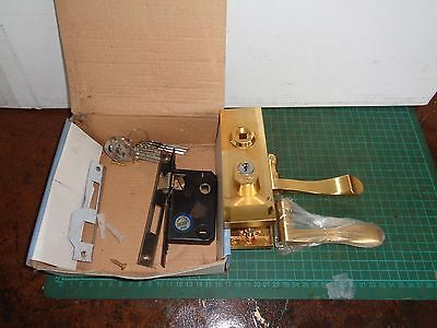 Vintage ANG branded door lock and handle, brass colour, new