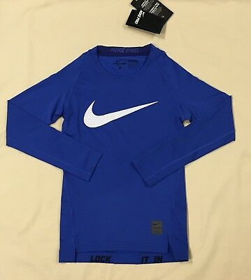 """Youth Nike Pro Base Layer Top FITTED """"Stay Cool"""" Long Sleeve Shirt  726460-480"""