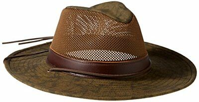 Henschel Mens Hiker Crushable UPF 50 Mesh Breezer with Leather Band Hat, Distre