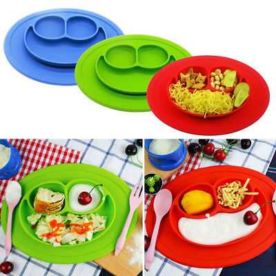 Smile One-Piece Silicone Placemat Plate Dish Food Table Bowl Mat  for Baby Kid #
