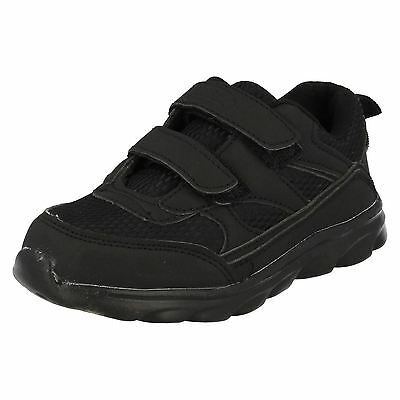 Air Tech Legacy Boys Riptape Fastened Black Textile/Synthetic Casual Trainers