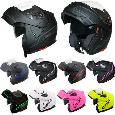 LEOPARD LEO-838 Modular Flip Up DVS Motorbike Motorcycle Helmet Black Red