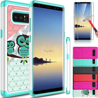 For Samsung Galaxy Note 8 Shockproof Slim Hard Phone Case+Glass Screen Protector