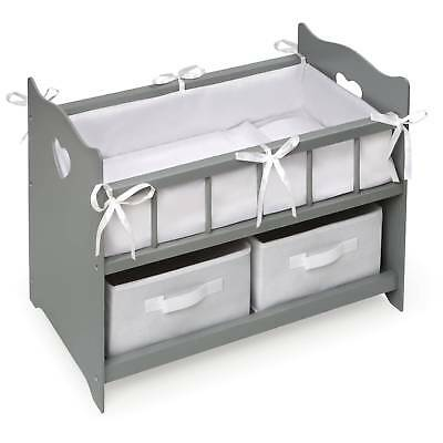 Badger Basket Doll Crib With Two Baskets   Executive Gray