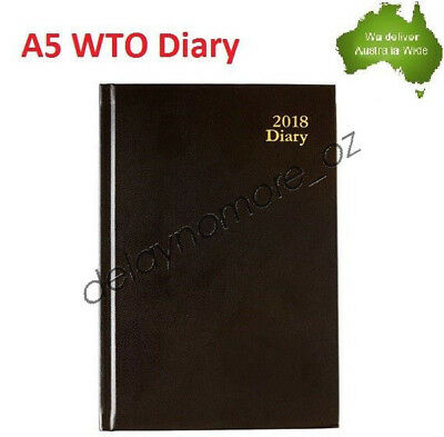 2018 A5 Diary Planner WTO Case Bound Black Notes Addresses Week to Opening NEW