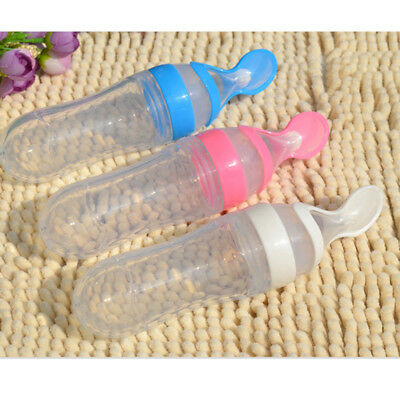 Creative Infant Baby Silicone Feeding with Spoon Feeder Food Bottle
