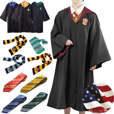 Harry Potter Gryffindor Robe Cloak Adult Child Costume Cape Tie Scarf Glasses US
