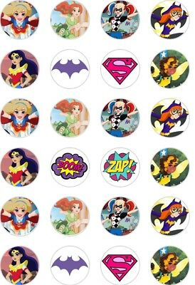 24 x PRECUT SUPERHERO/SUPERGIRL/WONDER WOMAN RICE/WAFER PAPER CUP CAKE TOPPERS
