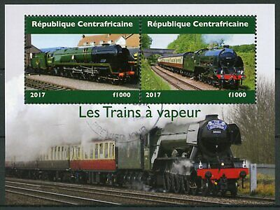 Central African Republic 2017 CTO Steam Trains Locomotives 2v M/S II Rail Stamps