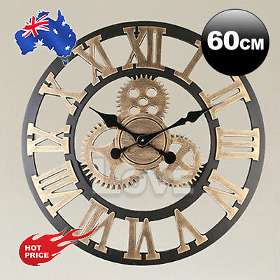 60cm Large Handmade Clock Gear Wall Clock Vintage Rustic luxury Art Home Decor