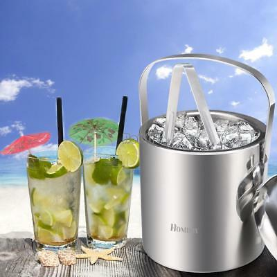 Stainless Steel Ice Bucket Holder Party Drinks Beer Wine Cooler With Tongs Lid