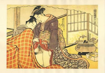 Japanese Reproduction Woodblock Print Shunga Style A# Erotic A4 Parchment Paper