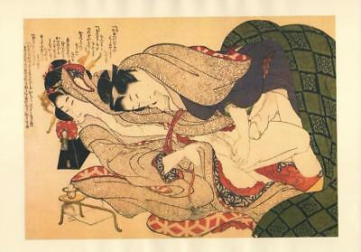 Japanese Reproduction Woodblock Print Shunga Style E# Erotic A4 Parchment Paper