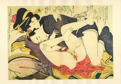 Japanese Reproduction Woodblock Print Shunga Style G# Erotic A4 Parchment Paper