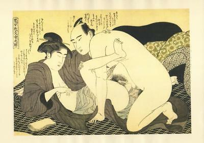 Japanese Reproduction Woodblock Print Shunga Style H# Erotic A4 Parchment Paper