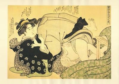 Japanese Reproduction Woodblock Print Shunga Style M# Erotic A4 Parchment Paper
