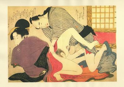 Japanese Reproduction Woodblock Print Shunga Style N# Erotic A4 Parchment Paper