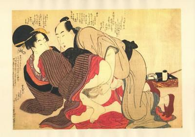 Japanese Reproduction Woodblock Print Shunga Style O# Erotic A4 Parchment Paper