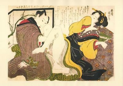 Japanese Reproduction Woodblock Print Shunga Style Q# Erotic A4 Parchment Paper