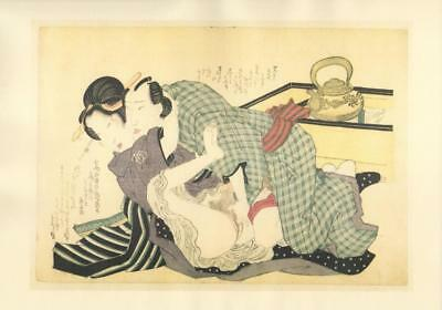 Japanese Reproduction Woodblock Print Shunga Style R# Erotic A4 Parchment Paper