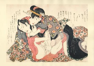 Japanese Reproduction Woodblock Print Shunga Style X# Erotic A4 Parchment Paper